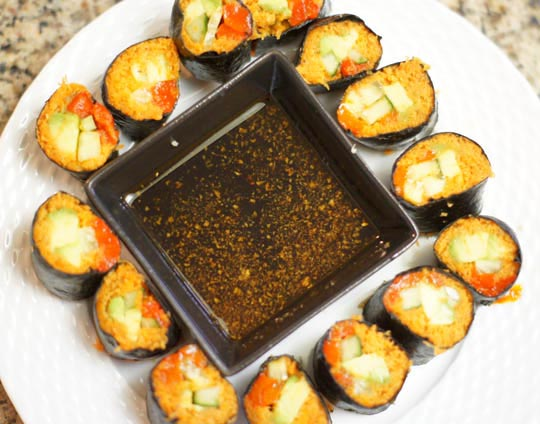 pate of vegetable sushi rolls