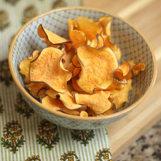sweet potato chips in a bowl