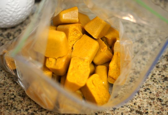 curry sauce cubes in a ziploc bag