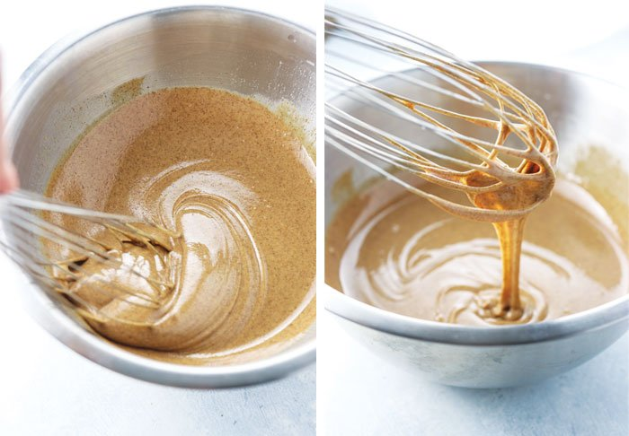 wisk mixing almond butter fudge batter