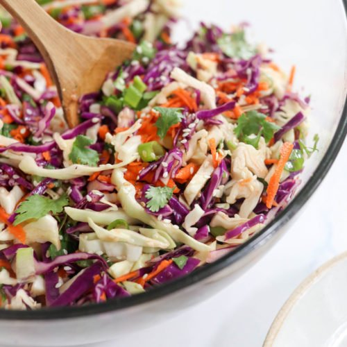 asian coleslaw in large bowl