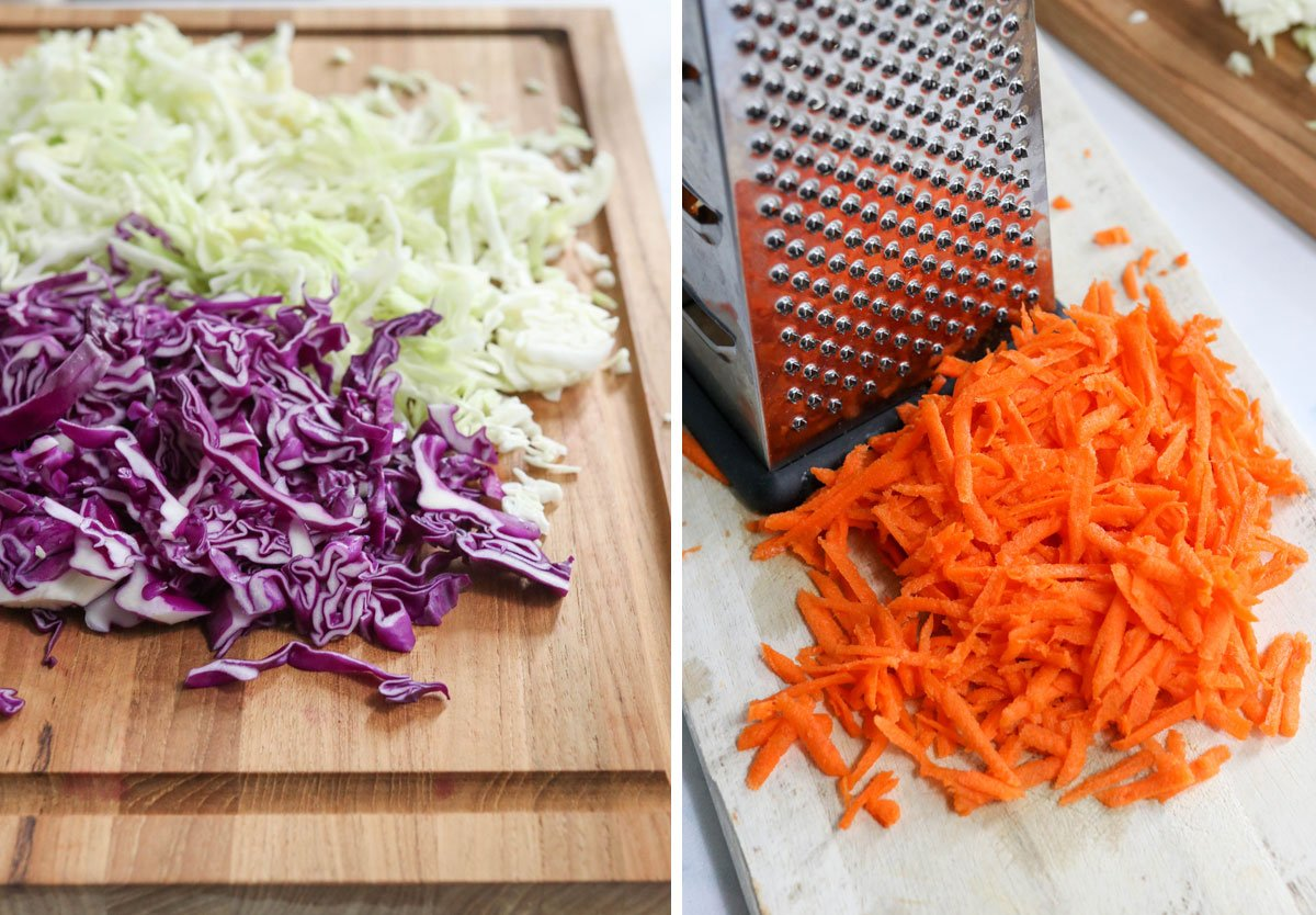 shredded cabbage and carrots