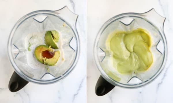 avocado ice cream ingredients in blender
