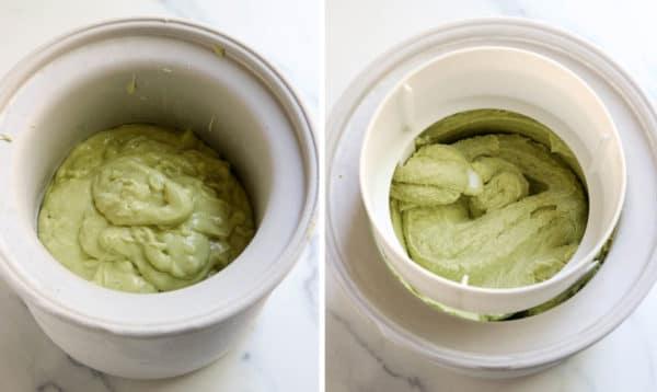 avocado ice cream in ice cream maker