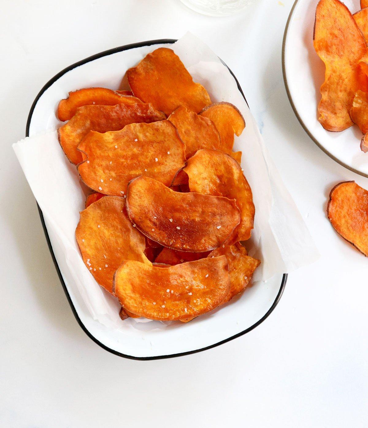 sweet potato chips in white basket