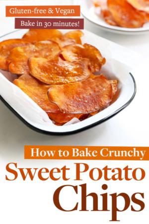 baked sweet potato chips pin for pinterest