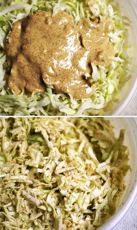 mixing asian dressing into coleslaw mix