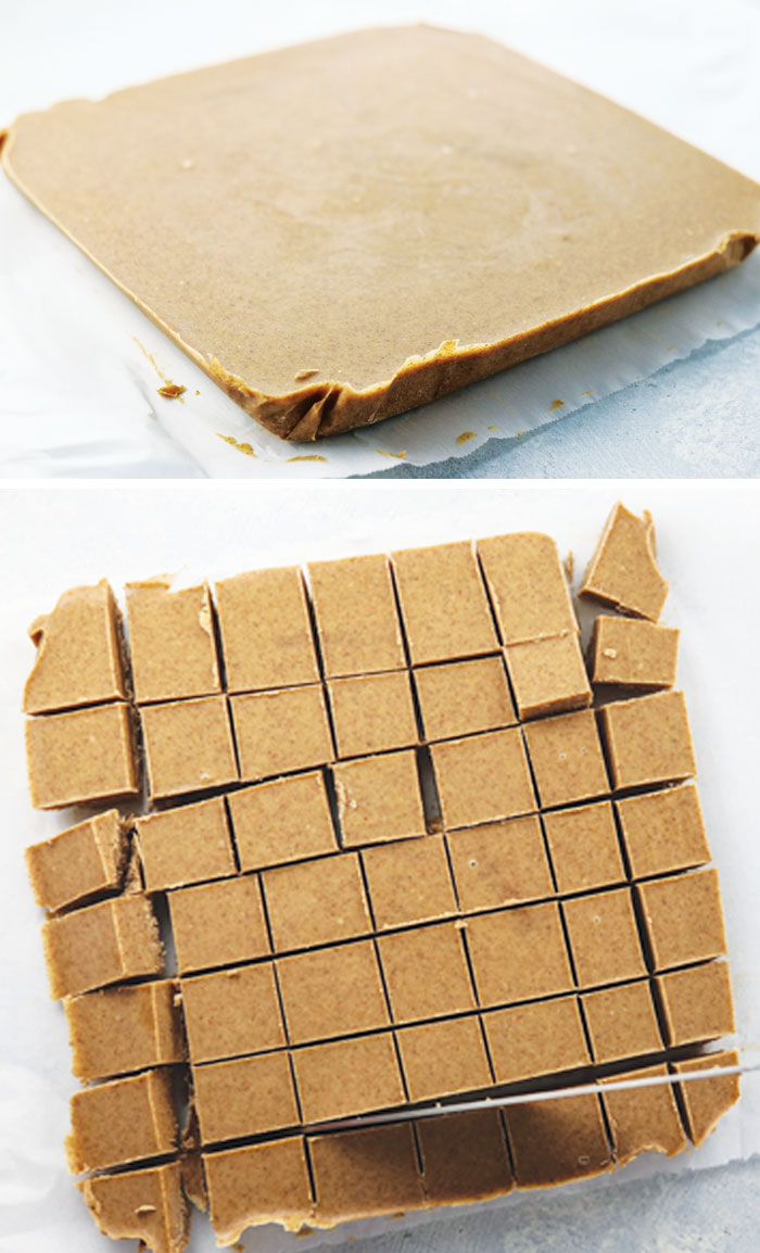 cut almond butter fudge pieces