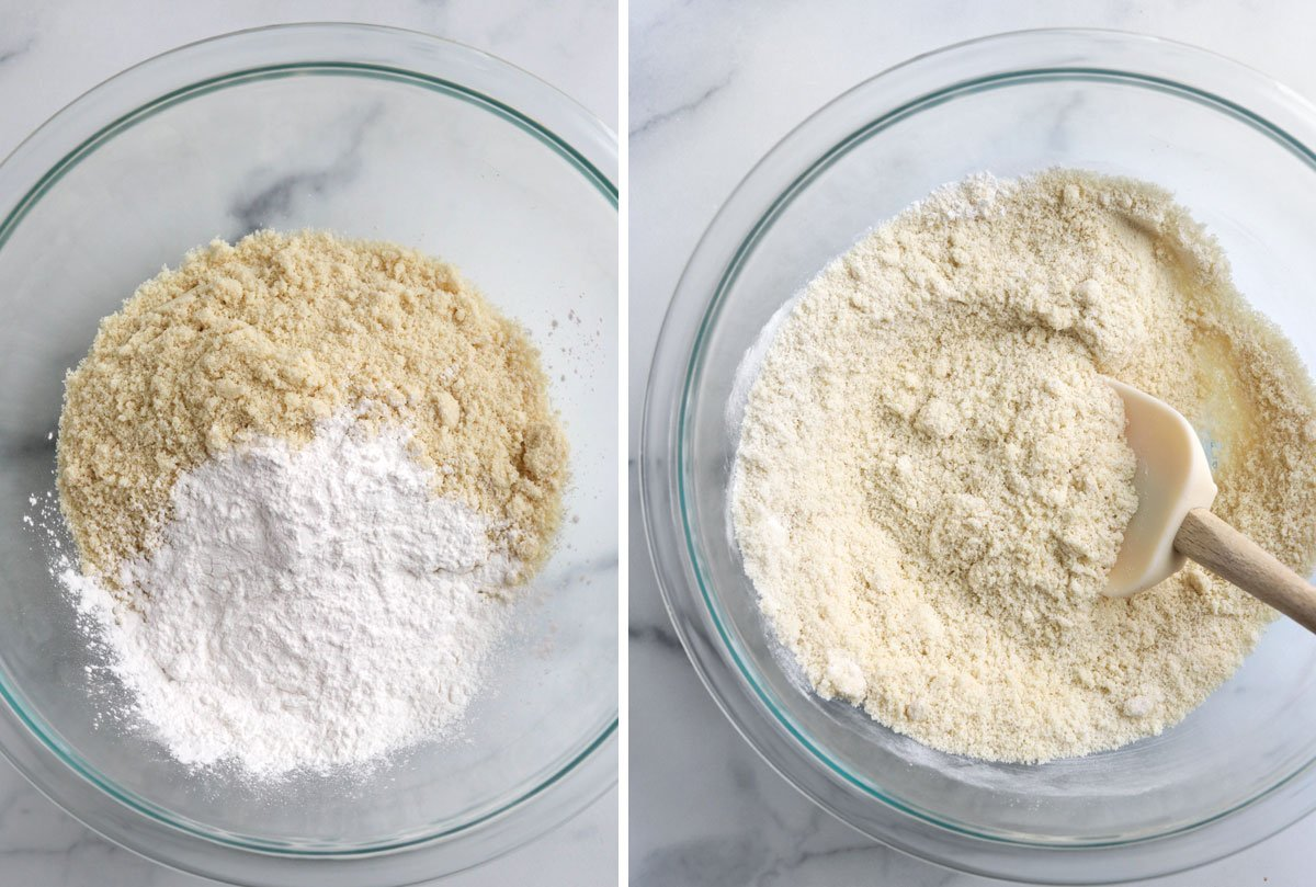 almond flour and starch stirred together