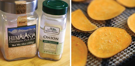 containers of himalayan salt and onion powder and sweet potato slices