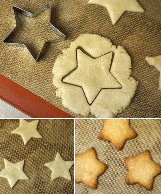 baked almond flour sugar cookies on a pan