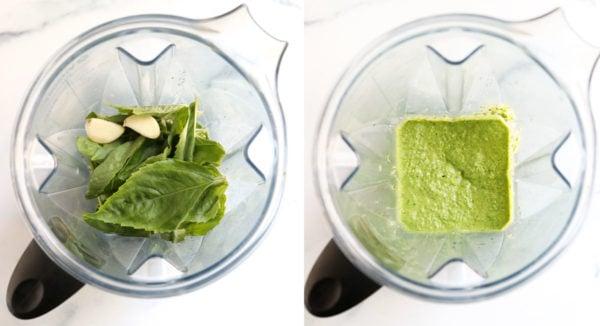 broccoli pesto ingredients blended together