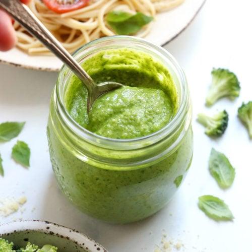 broccoli pesto in jar with spoon