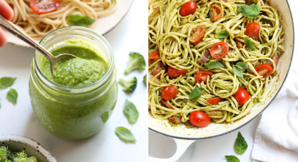 finished broccoli pesto in jar and served over pasta