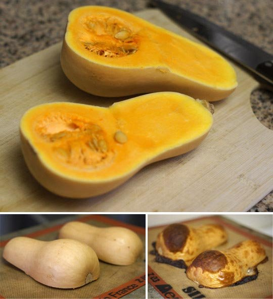 roasting butternut squash halves on a baking pan