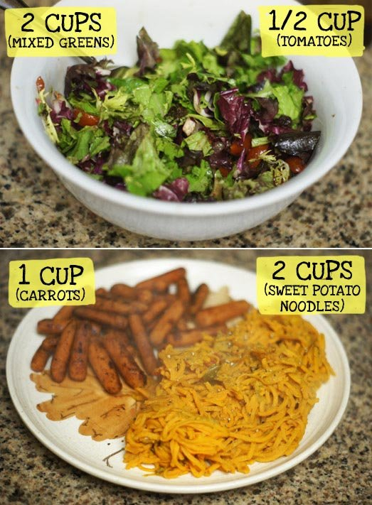 bowl of salad and a plate with cooked carrots and sweet potato noodles