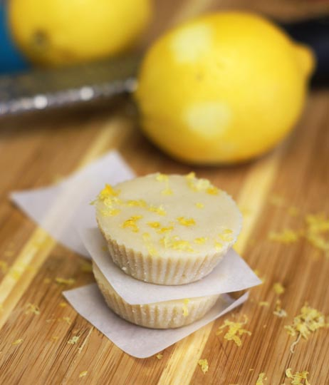 raw lemon meltaway with lemon shavings on top