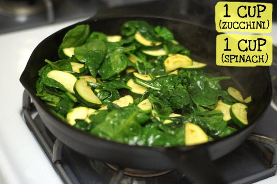 spinach and zucchini in a skillet