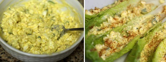 homeade egg salad in a bowl and put into romaine lettuce leafs