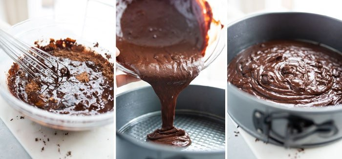 flourless chocolate cake batter in a pan