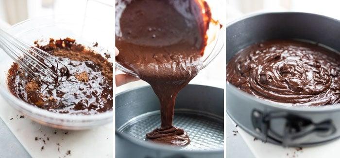 flourless chocolate cake batter in a pan