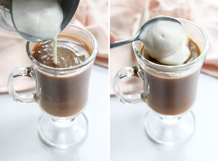 frothed almond milk creamer with foam