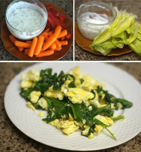 carrots and lettuce leaves on a plate with goat ranch dressing in a cup and a plate of scrambled eggs with spinach leaves