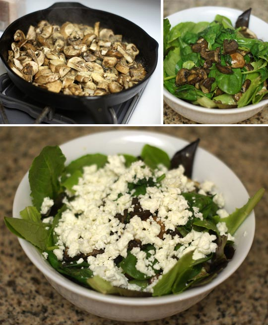 salad with sauteed mushrooms and cheese on top