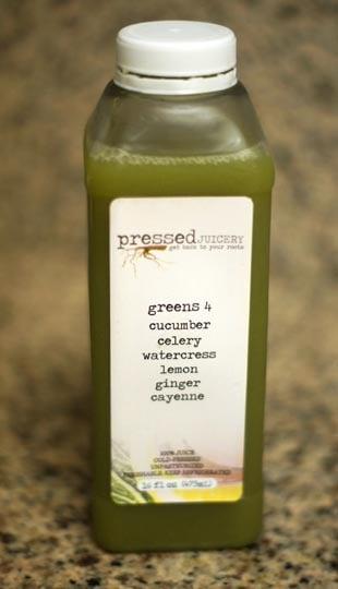 bottle of pressed green juice