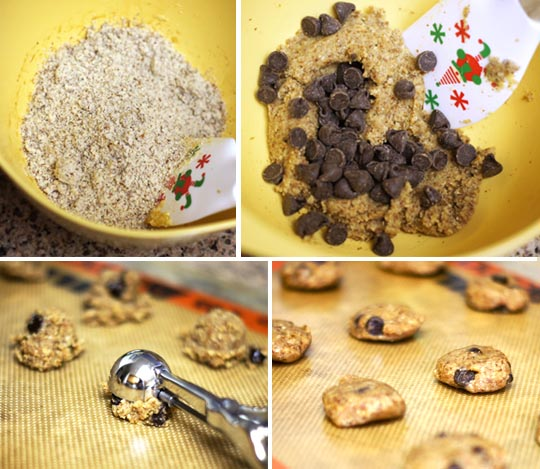 mixing cookie batter and scooping it onto a cookie sheet