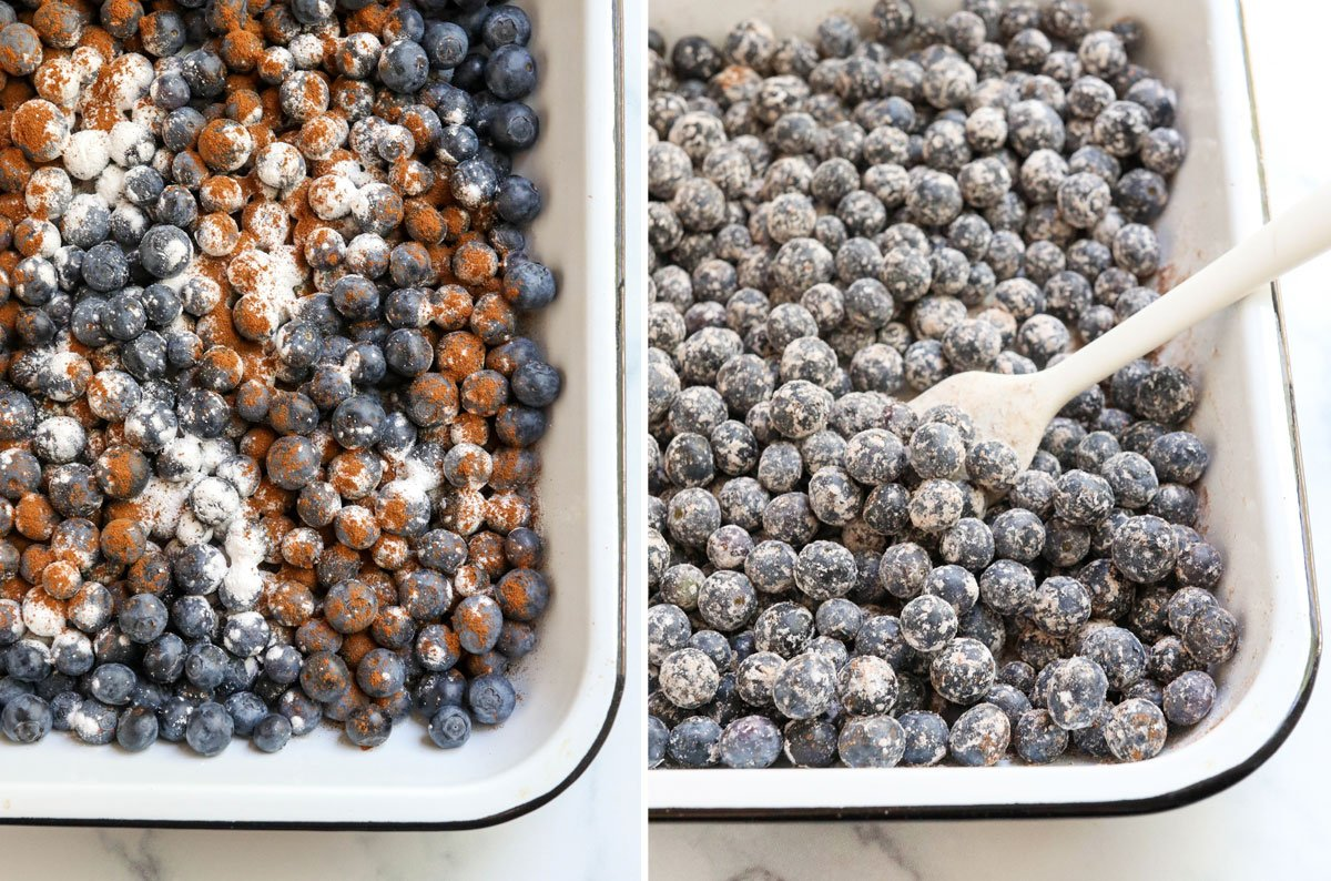 blueberries mixed with arrowroot and cinnamon
