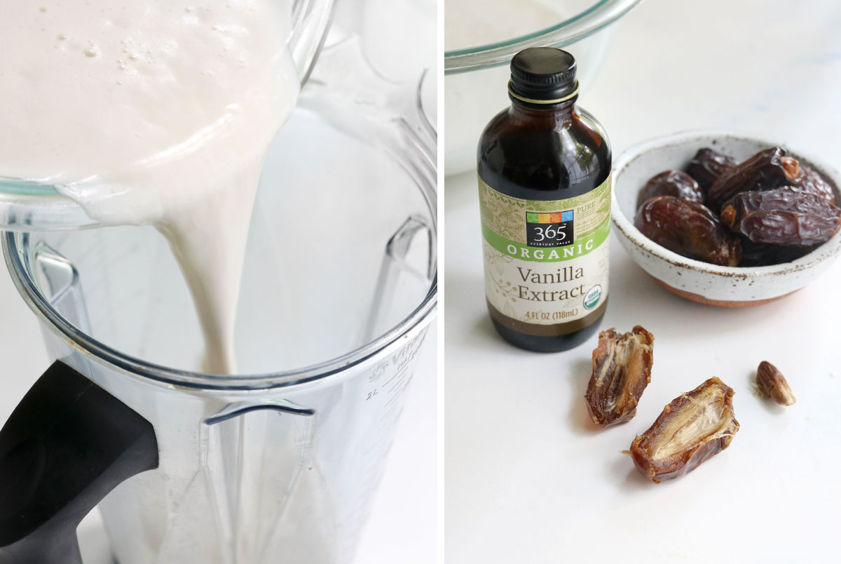 almond milk added back into blender with dates and vanilla