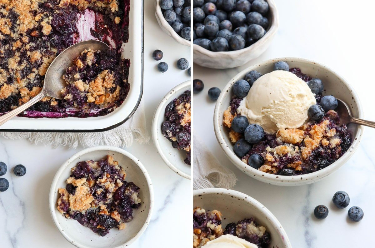 finished blueberry crisp served with ice cream