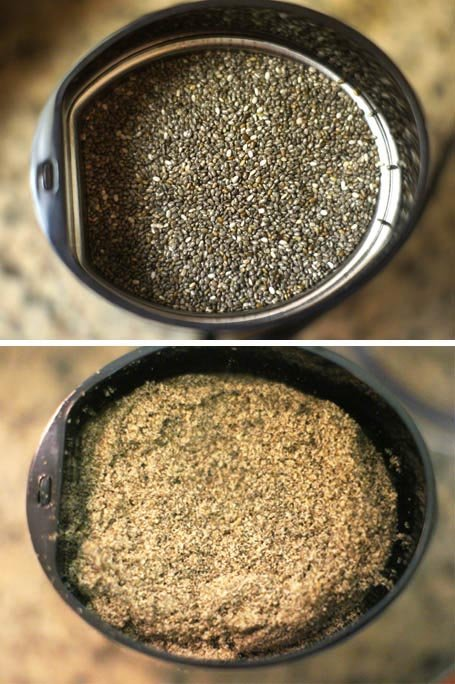 black chia seeds ground in a coffee grinder