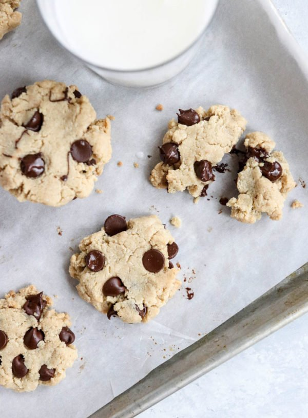 almond flour chocolate chip cookies on pan