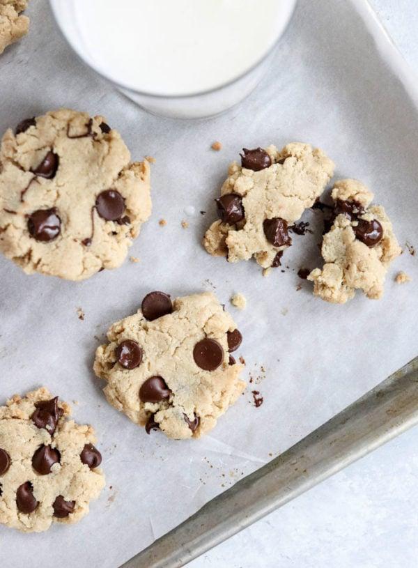 almond flour chocolate chip cookies on pan