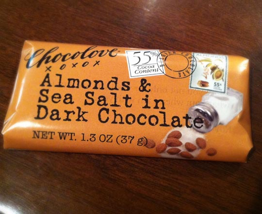 bar of almond and sea salt dark chocolate