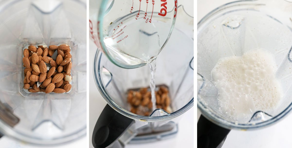 almonds and water blended together in vitamix
