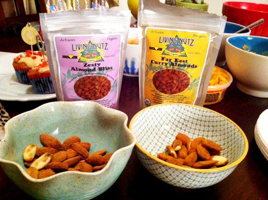 two packages of living nutz poured into bowls