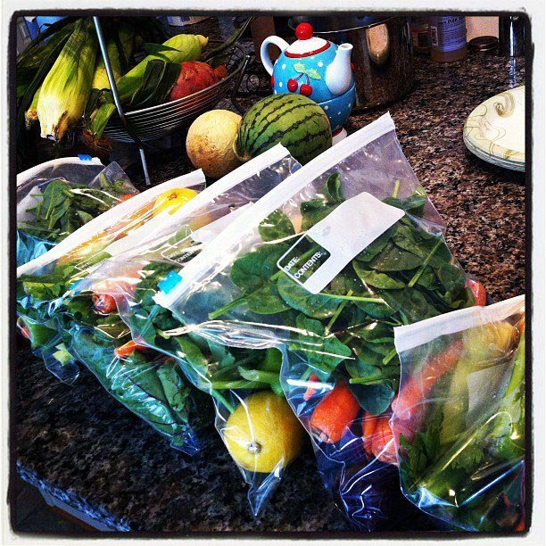 pre-washed vegetables in bags for juicing