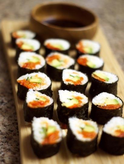 spicy tuna rolls on a plate