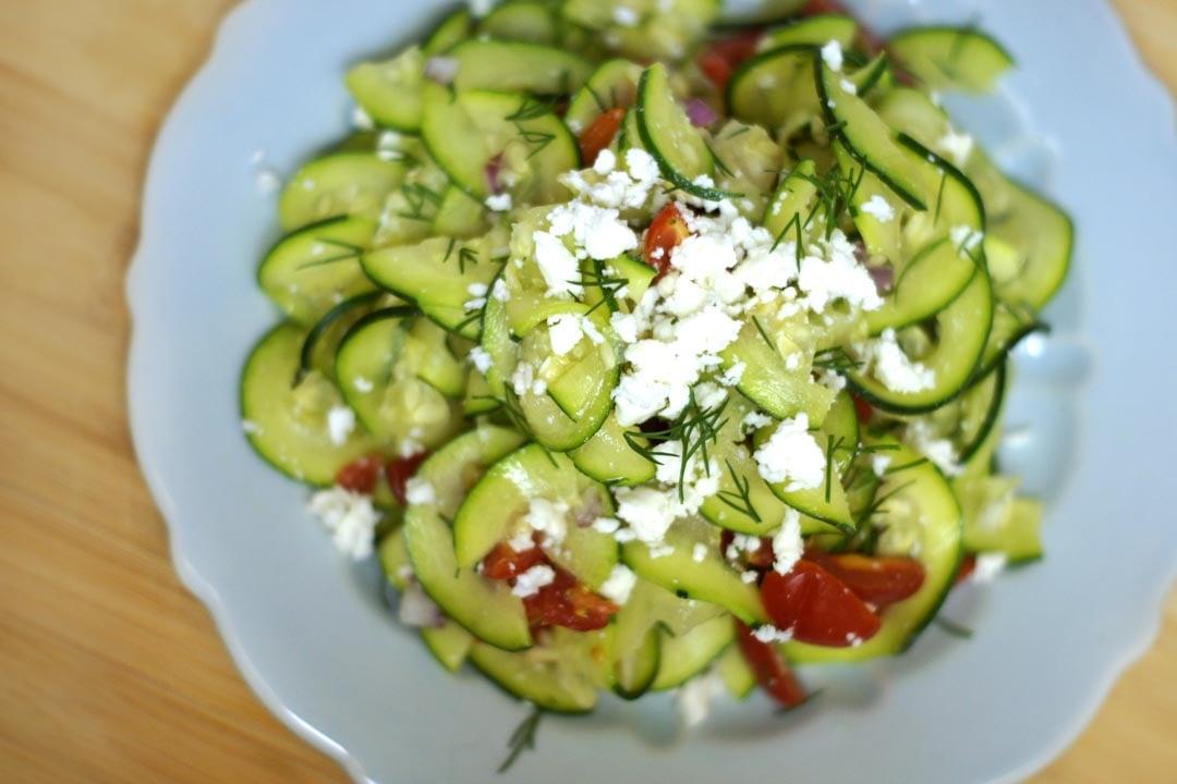 plate of mediterranean zucchini pasta salad