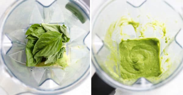 avocado pesto in blender