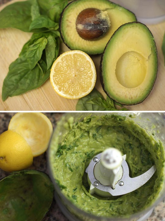 mixing avocado and lemon in a food processor