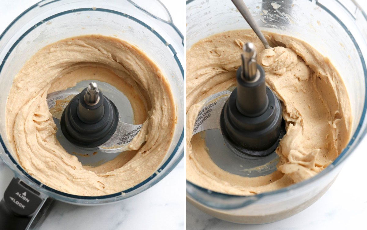peanut butter and bananas processed until smooth