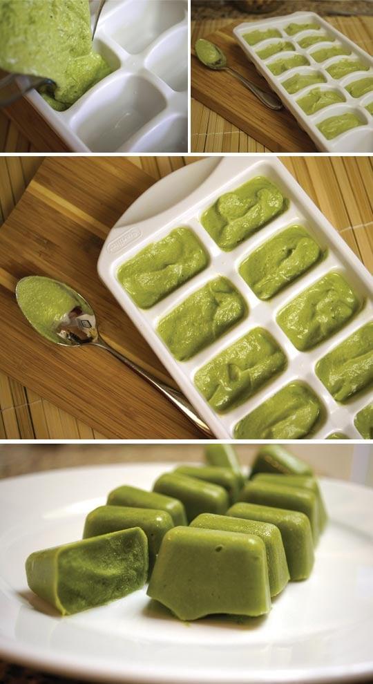 freezing pesto cubes in ice trays