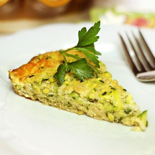 slice of flourless zucchini pie on a plate