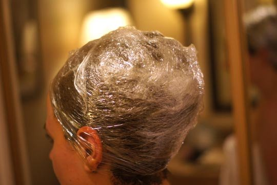 hair wrapped in plastic wrap