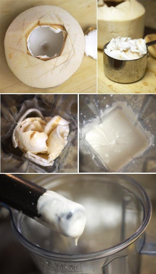 blending coconut in a blender