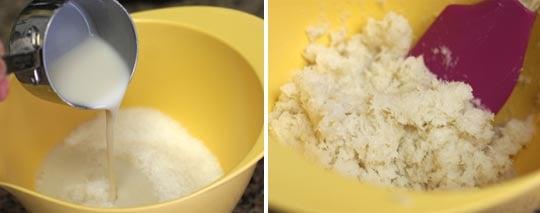 mixing coconut macaroon batter